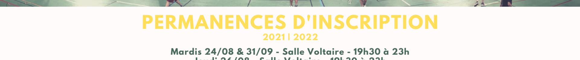 Permanences d'Inscription 2021-2022